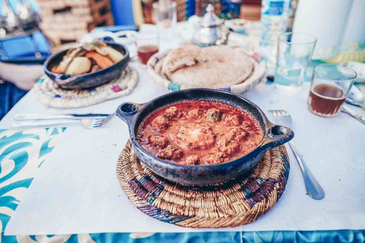 Moroccan Cuisine: Kefta tajine of meatballs and gravy