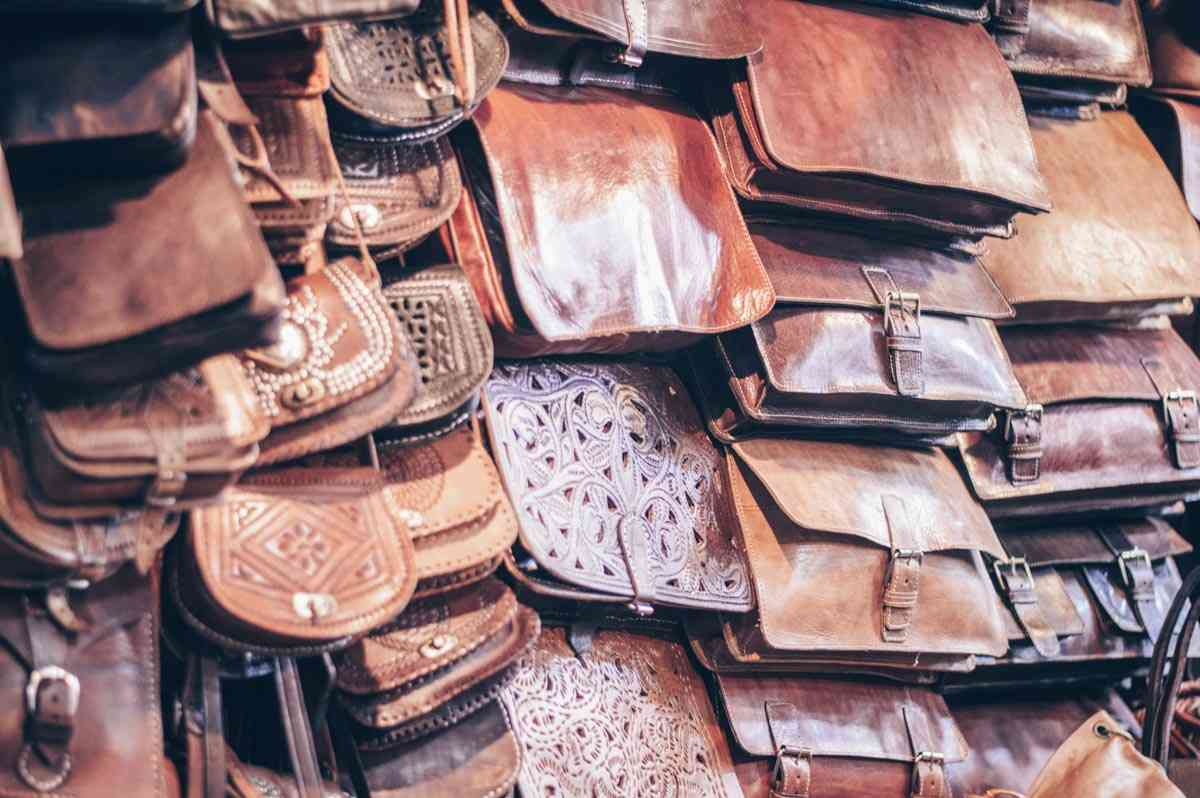 Marrakech souks: An array of leather bags on display in a stall.