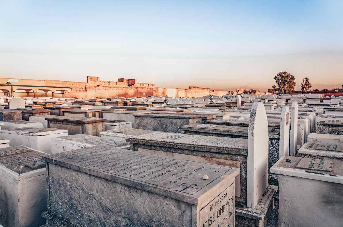 Marrakech Mellah: Rows of whitewashed graves in the Miara Cemetery. PC: posztos/Shutterstock.com