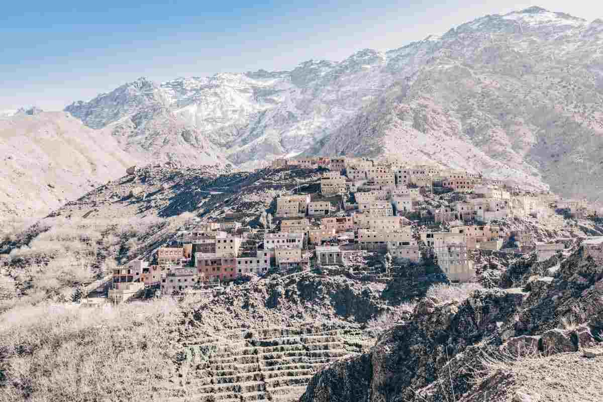 Ourika Valley: View of a picturesque Berber village in the foothills of the Atlas Mountains