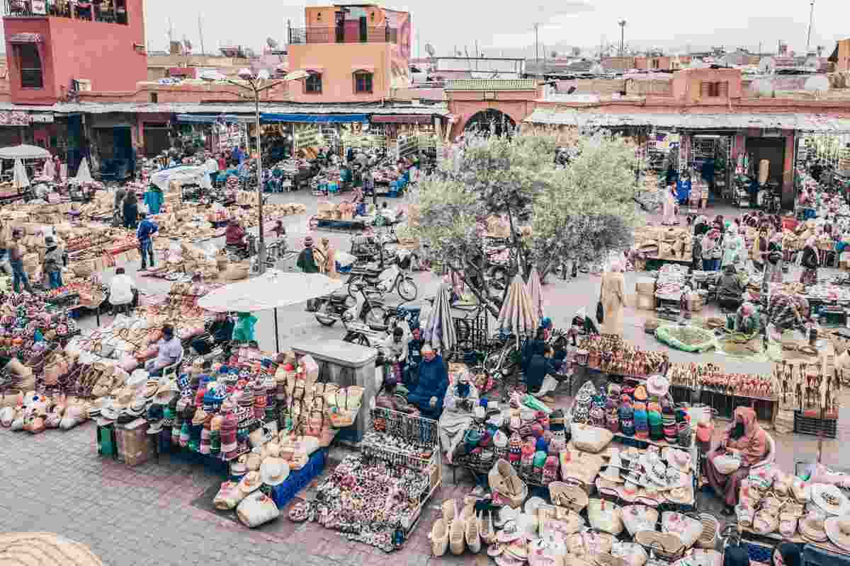 Marrakech Rahba Kedima: View of stalls selling Berber hats and woven baskets. PC: VDWimages/Shutterstock.com