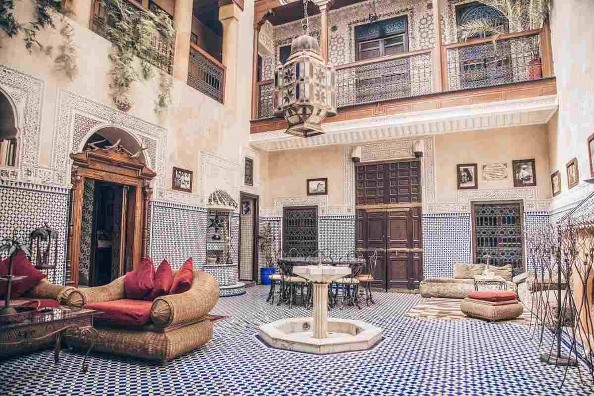 Morocco riad: Decorative interior courtyard of a traditional riad. PC: Goran Bogicevic/Shutterstock.com