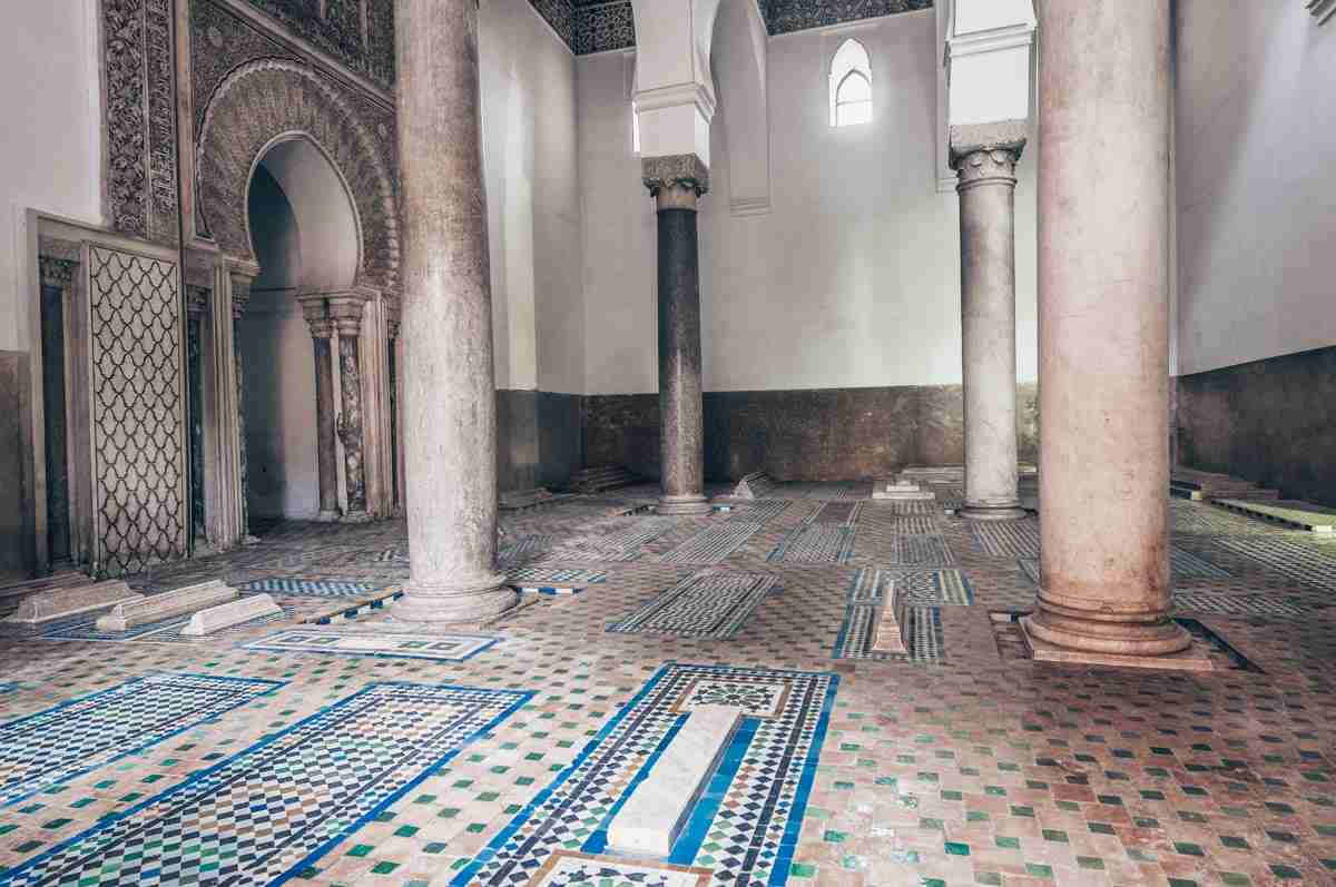 Things to do in Marrakech: Beautifully decorated interior of the Saadian Tombs