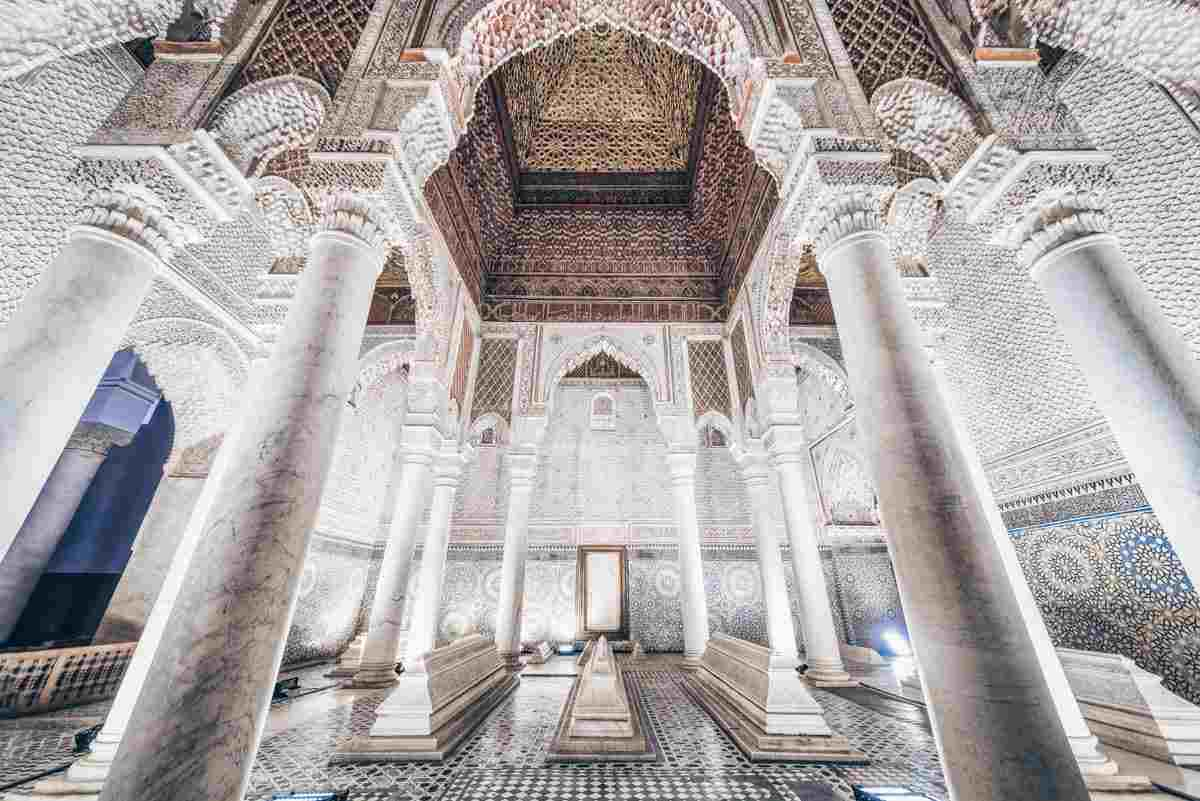 Marrakech: Lavish moorish interior of the stunning Hall of Twelve Columns of Saadian Tombs. PC: Checco - Dreamstime.com