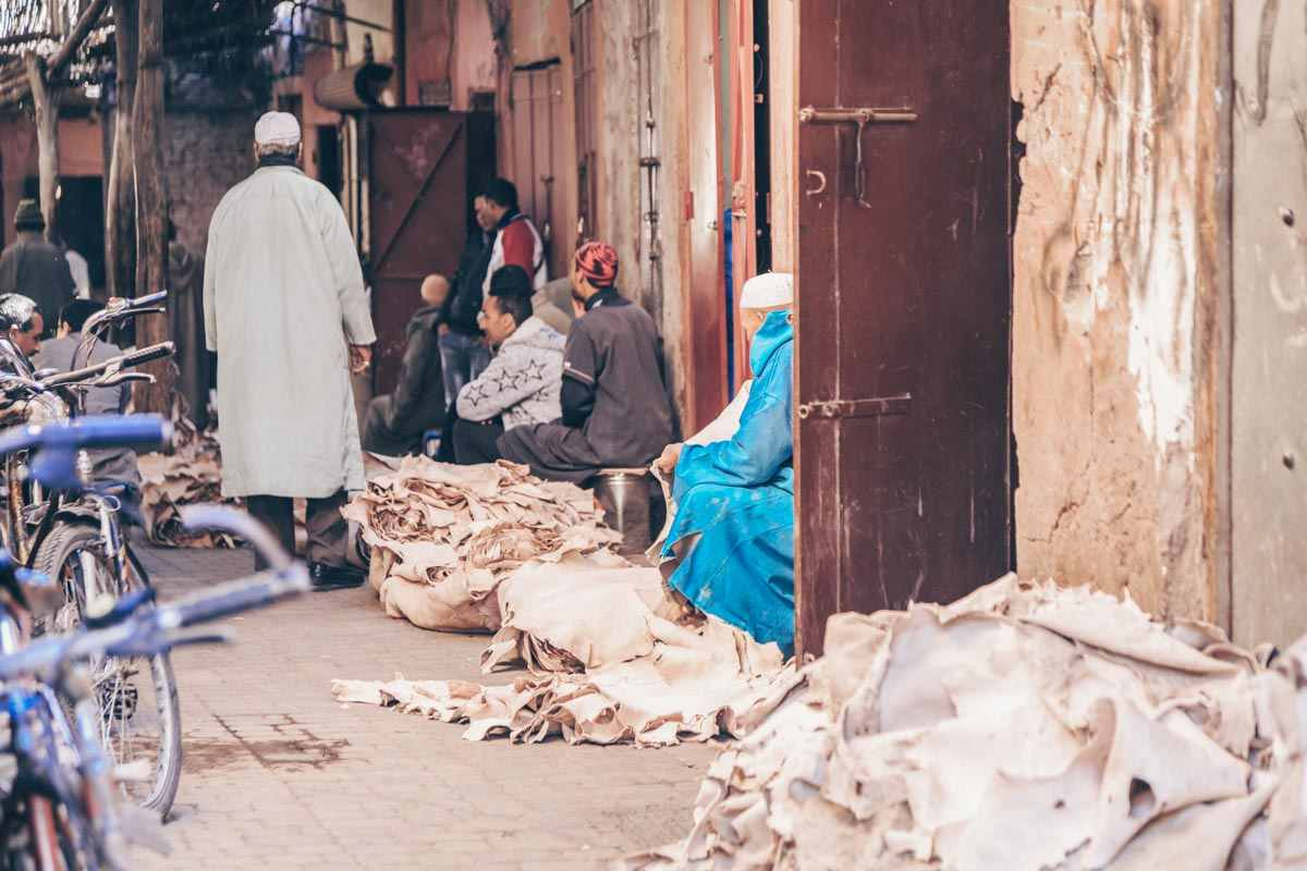 Marrakech souks: Leather hides lying in piles on the street. PC: freevideophotoagency/Shutterstock.com