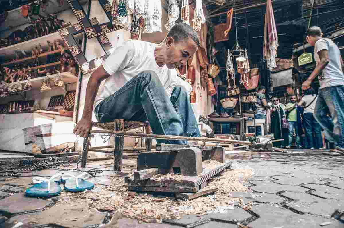Marrakech Souks: A cabinet-maker in action at Souk Chouari. PC: Giampaolo Cianella/Shutterstock.com