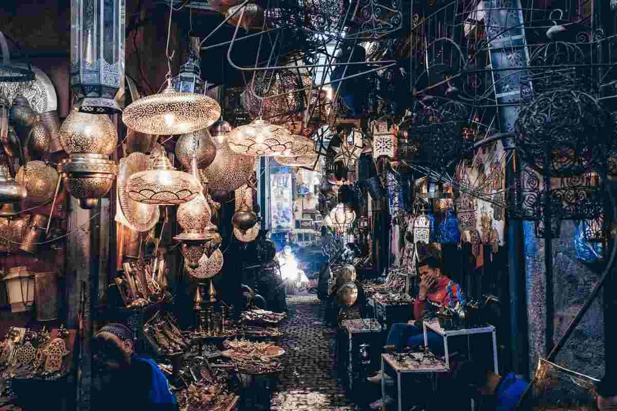 Marrakech: Lanterns, wrought.iron grilles, and coat hangers on display in Souk Haddadine. PC: Petr Švec - Dreamstime/Shutterstock.com