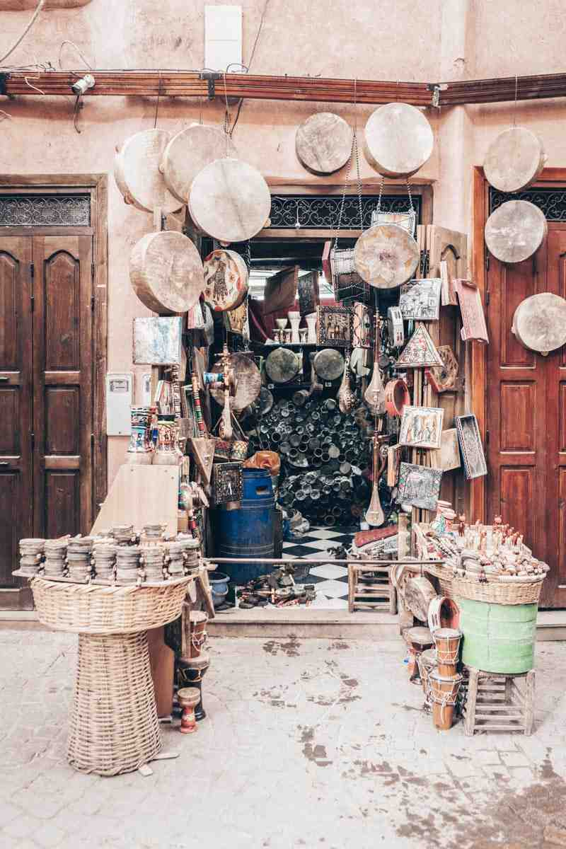 Traditional Moroccan instruments on display in Souk Kimakhnine in Marrakech