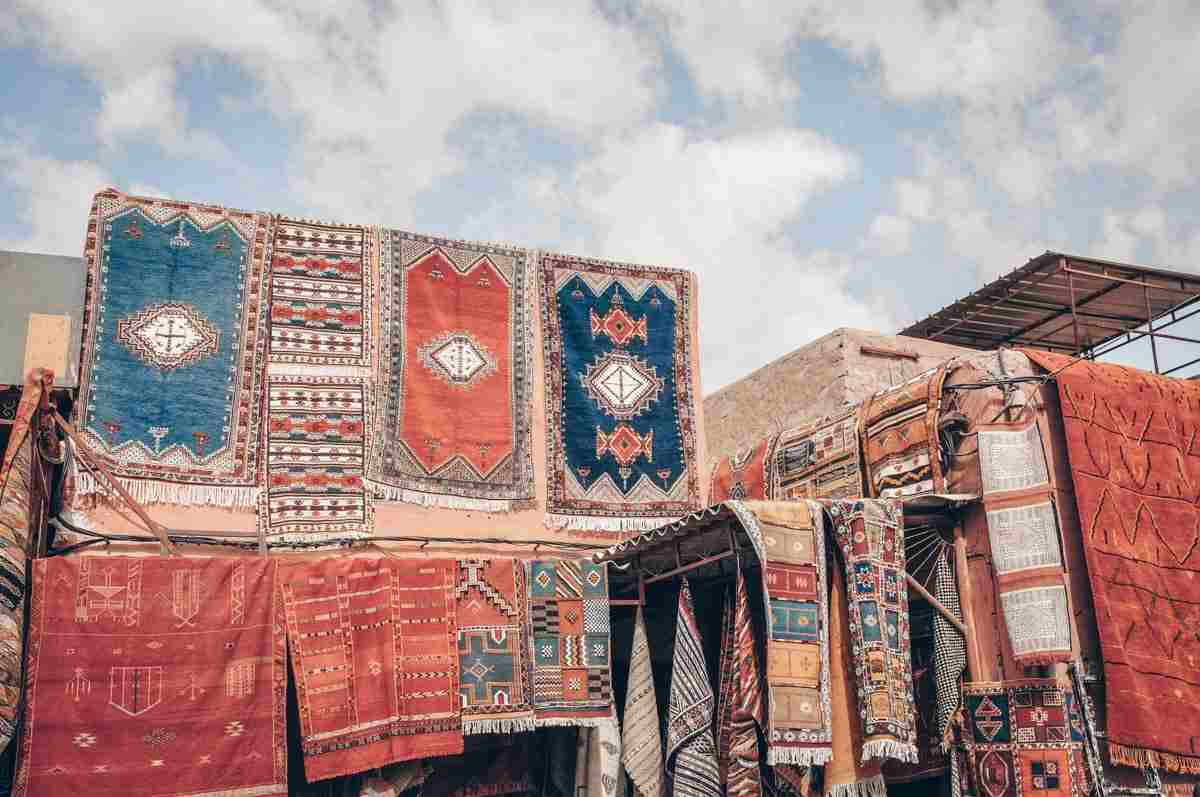 Marrakech Carpet Souk: A dazzling array of colorful carpets on display