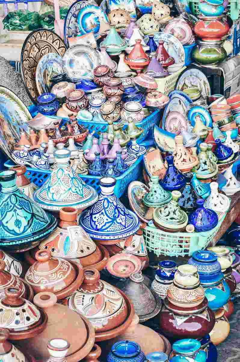 Marrakech Souks: Glazed tajines in a variety of colours and sizes on display