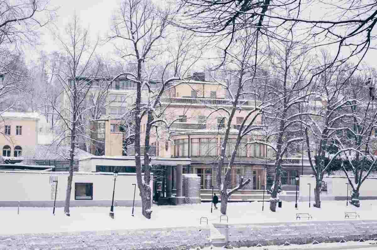 Turku: Exterior of the Aboa Vetus & Ars Nova on a snowy wintry day