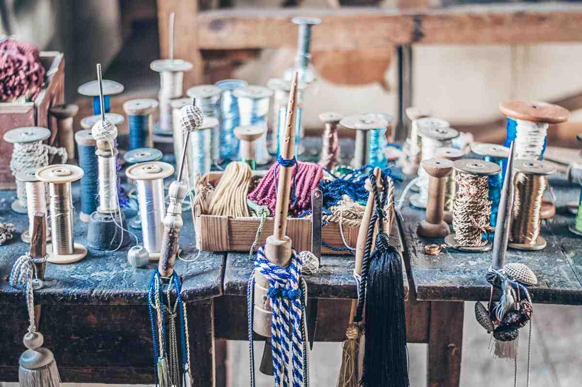 Turku: Multi-coloured threads and needles at Luostarinmäki Handicrafts Museum