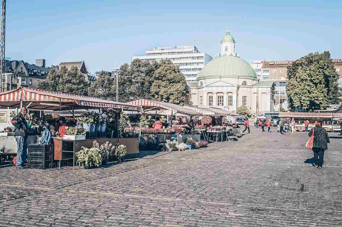 Turku: The bustling Market Square with the Orthodox Church in the background