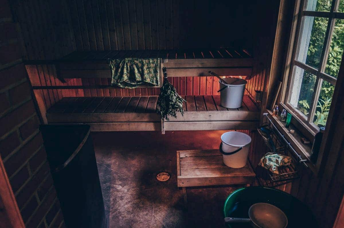 Finland: Traditional old wooden sauna